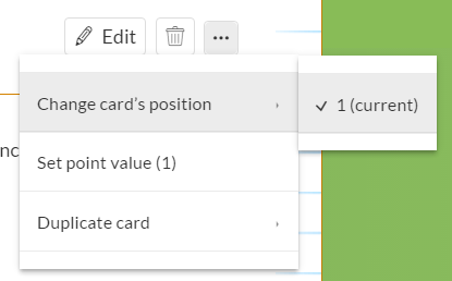 Change card position or point value