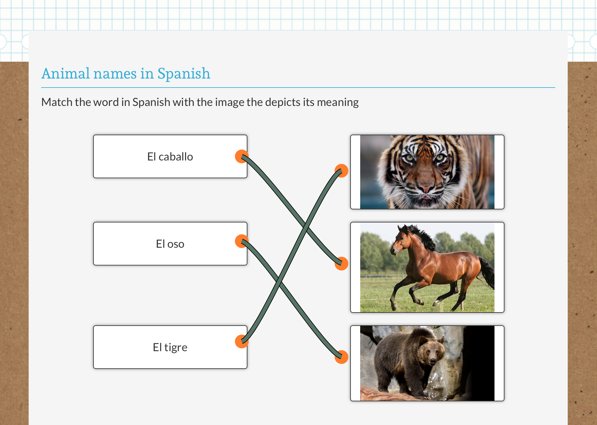 Matching Spanish practice with images